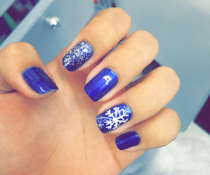 blue, nails, and christmas image
