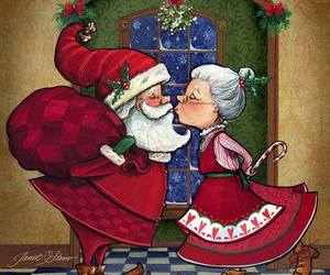 santa claus, mrs. claus, and mrs. clause image