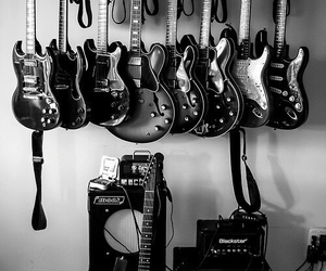 guitar, music, and black and white image