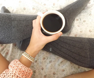 coffe, legs, and sweater image