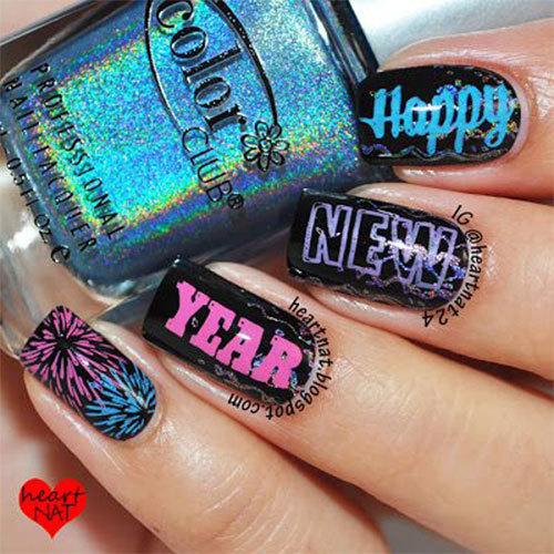 new years nails and happy new year nail art image