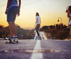 skate, friends, and skateboard image