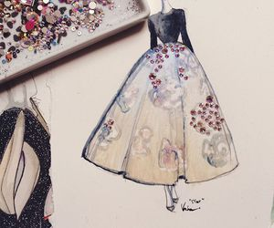 drawing, dress, and glitter image
