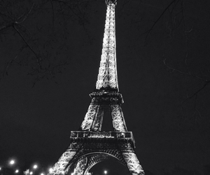 black&white, lights, and paris image