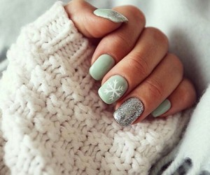 nail polish, nails, and snowflakes image
