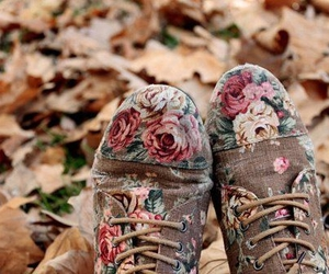 shoes, flowers, and autumn image