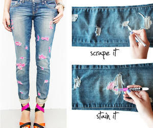 diy, jeans, and pink image