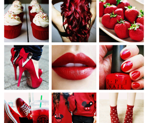 red, lips, and hair image