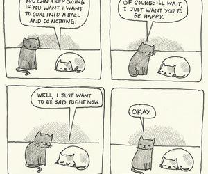 cat, sad, and comic image