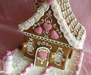 pink, christmas, and gingerbread house image