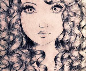 curly, beautiful, and drawing image
