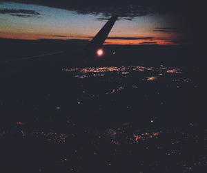 airplane, night time, and sunset image