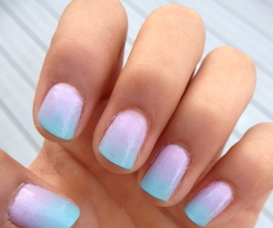 nails, ombre, and blue image