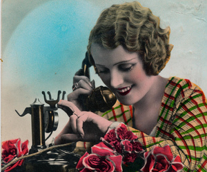 telephone and old postcard image