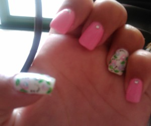 flowers, nailpolish, and pink image