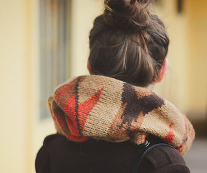 scarf, hair, and autumn image