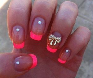 pink+nails and bow+nails image