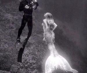 mermaid, sea, and black and white image