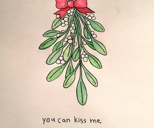 love, mistletoe, and christmas image
