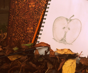 autumn, apple, and drawing image