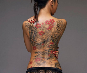 back, panties, and cherry blossom image