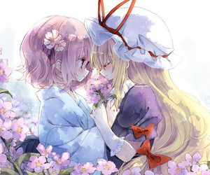 flowers and anime girls image