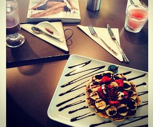 dinner, fruit, and waffles image