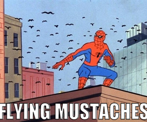 spiderman, mustache, and funny image