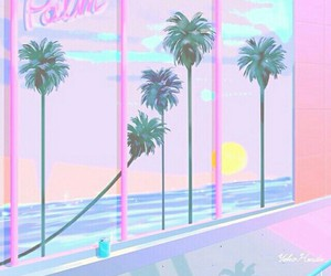 pastel, palm trees, and cute image