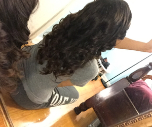 brunette, curls, and nume image