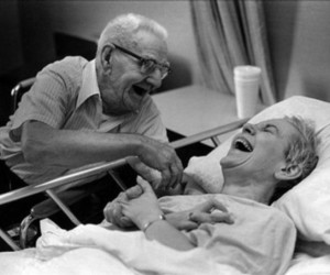 black and white, laugh, and old couple image