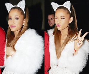 cat ears, white, and ariana grande image