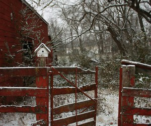 barn, snow, and winter image