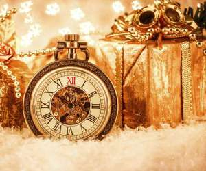 christmas, decoration, and gold image