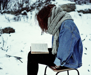 girl, book, and winter image