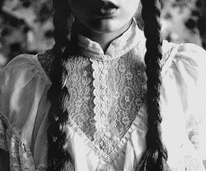 braid, black and white, and girl image