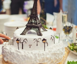 cake, paris, and the eiffel tower image