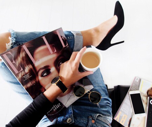fashion, Elle, and coffee image