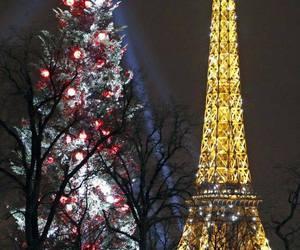 paris, christmas, and eiffel tower image