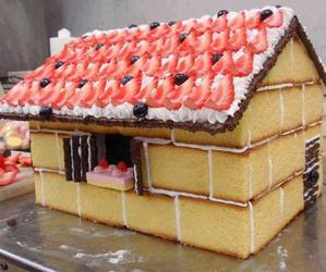 food, gingerbread house, and sweetness image