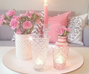 pink, candle, and decor image