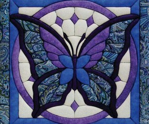 blue, butterfly, and tile image