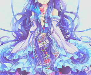 blue hair and butterfly image