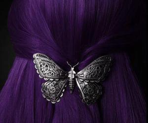 butterfly, hair, and purple hair image