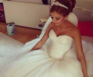 bride, brown, and dress image