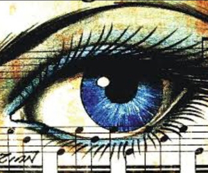 drawing, music, and eye image