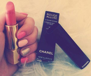 coco chanel, gold, and lipstick image