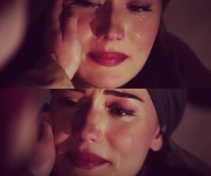 beautiful woman, cry, and sad image