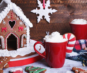 biscuits, gingerbread house, and christmas image