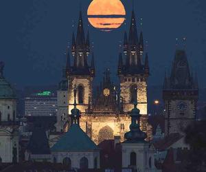moon, night, and prague image